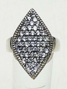 Edelstein-Silber-Ring-925-punziert-grosser-Ringkopf-Tansanit-Besatz-nat-RG-59