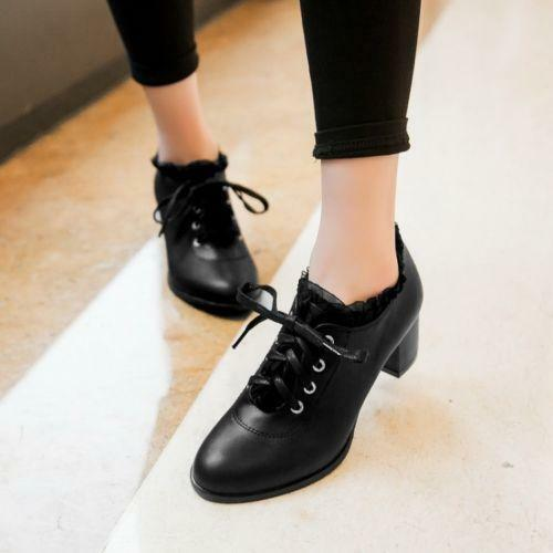 Sweet  Women/'s Lace Up Block Mid Heels Mary Janes Lace Up Oxford Casual Shoes