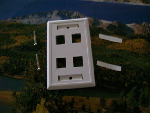 100-4 Port Keystone Faceplate White w//Windows RJ45 Face Plate USA SELLER!