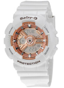 Casio-Baby-G-Analog-Digital-100m-Roe-Gold-Accent-White-Resin-Watch-BA110-7A1