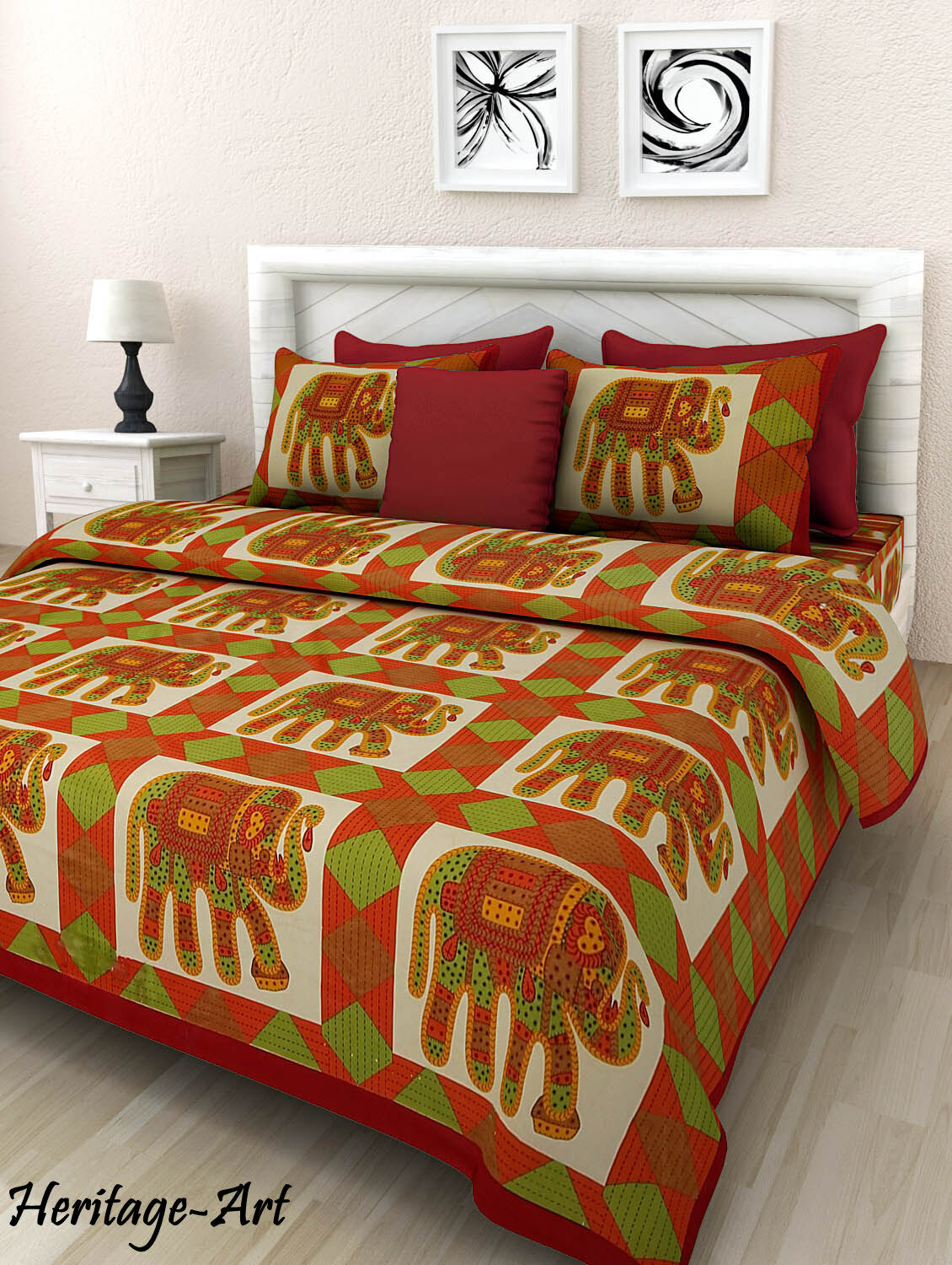 RAJASTHANI COTTON HIPPIE KING SIZE BED SHEET IN ELEPHANT PRINT WITH PILLOW COVER