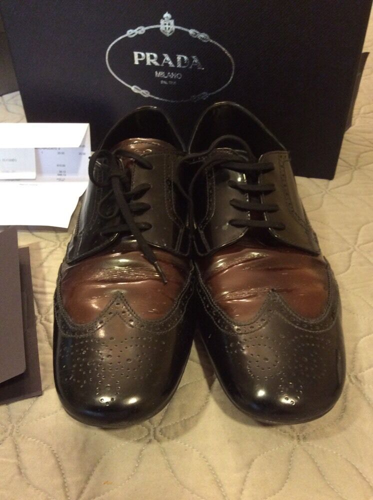 PRADA SPAZZOLATO FUME black BRUCIATO Black Brown LEATHER SHOES  NEW 9 (US 10)