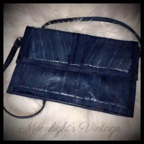 Vintage Eel Skin Purse Handbag Blue 80s Accessorie