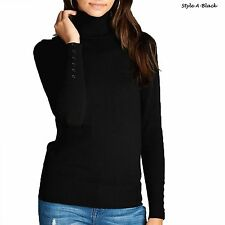 USA Women Fashion Long Sleeve Button Turtle Neck Sweater Top T-Shirts Size S-XL