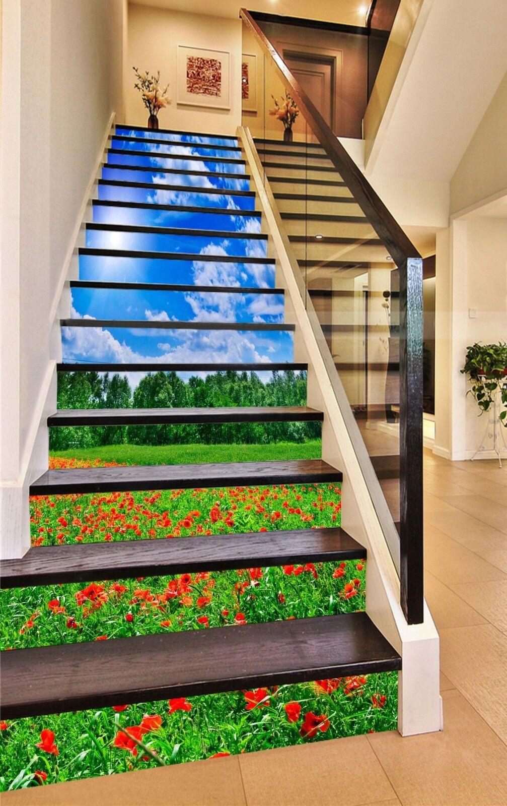 3D Unkraut Blaumen 1 Stair Risers Dekoration Fototapete Vinyl Aufkleber Tapete DE