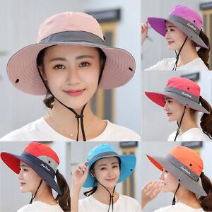 Summer Women's Sun Hat Bucket Fishing Hiking Cap Wide Brim UV Protection  Hats | eBay