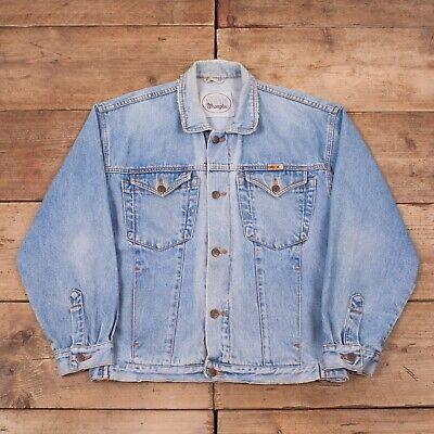 """100% Wahr Mens Vintage Wrangler Authentic 90s Blue Denim Trucker Jacket Large 44"""" R13138 Harmonische Farben"""
