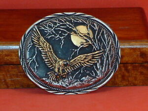 Pre-Owned-SSI-Handcrafted-Eagle-Nightscape-Belt-Buckle