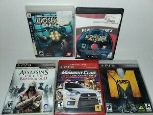 BioShock-1-amp-2-PlayStation-3-PS3-Assassins-Creed-Midnight-Club-Metro-lot-Action