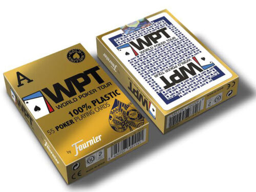 FOURNIER WPT GOLD EDITION WORLD POKER TOUR PLASTIC PLAYING CARDS DECK BLUE JUMBO