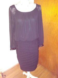 8d51c0a93249 Dressbarn Women's Dress Size 10 Black Sheer Sequin Long Sleeve Scoop ...