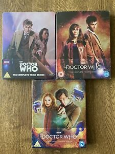 DOCTOR-WHO-BLU-RAY-STEELBOOK-SET-SERIES-3-4-amp-5-NEW-AND-SEALED-RARE