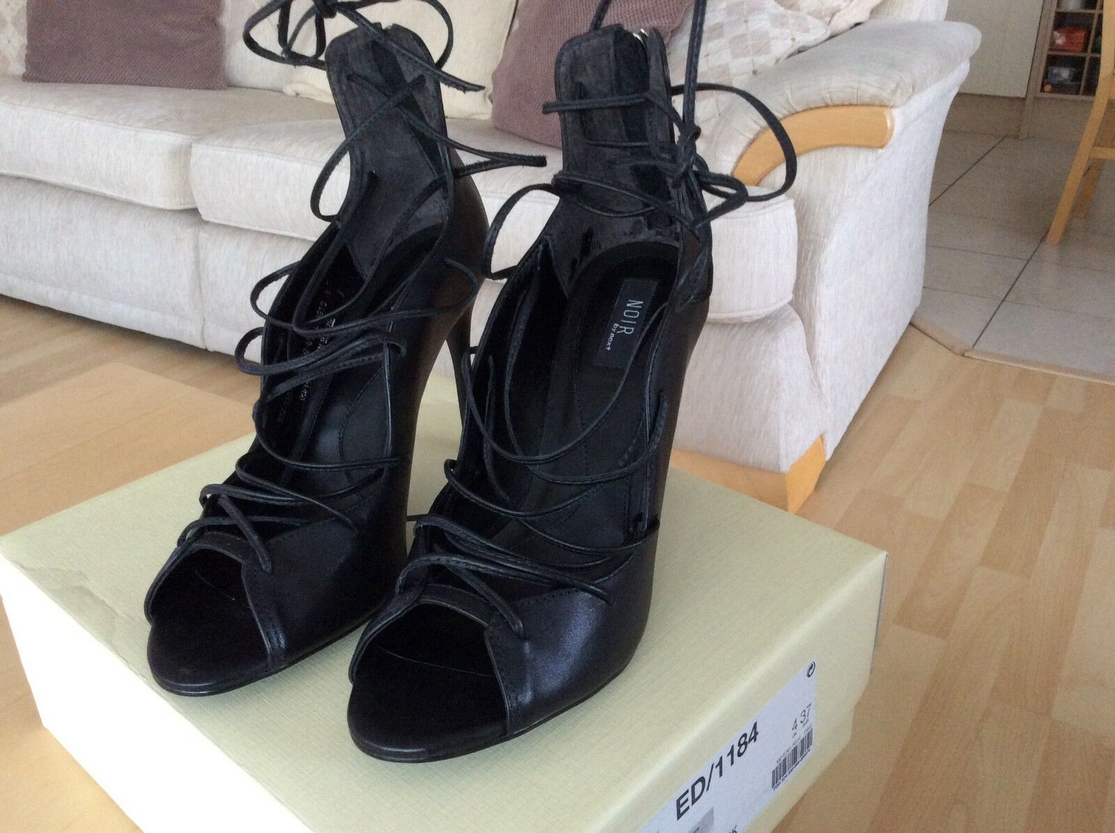 Beautiful Black Leather Lace Up Front Sandals By Next, Size 4 Boxed