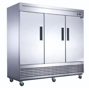 NEW-3-Door-Reach-In-Freezer-Stainless-Steel-Solid-NSF-Dukers-D83F-2030-Upright