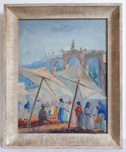 Luis-SOLLEIRO-huile-sur-toile-scene-de-marche-au-Mexique-milieu-20eme