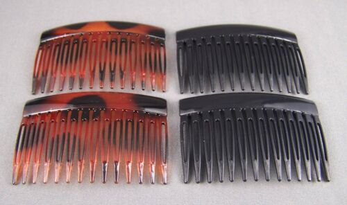 """set pack 4 Brown Black plastic 2.75/"""" hair accessory side clip comb french twist"""
