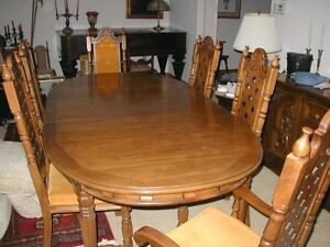pecan wood dining table w/ leaf and 6 chairs plus buffet/hutch