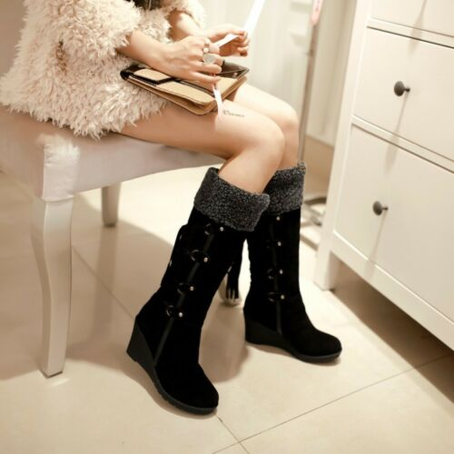 Ladies Mid-Calf Shoes Wool Knee Wedge Boots Fringe Lambswool Suede Winter