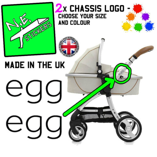 2x COLOURED egg pram logo REPLACEMENT vinyl stickers decal transfers pushchair