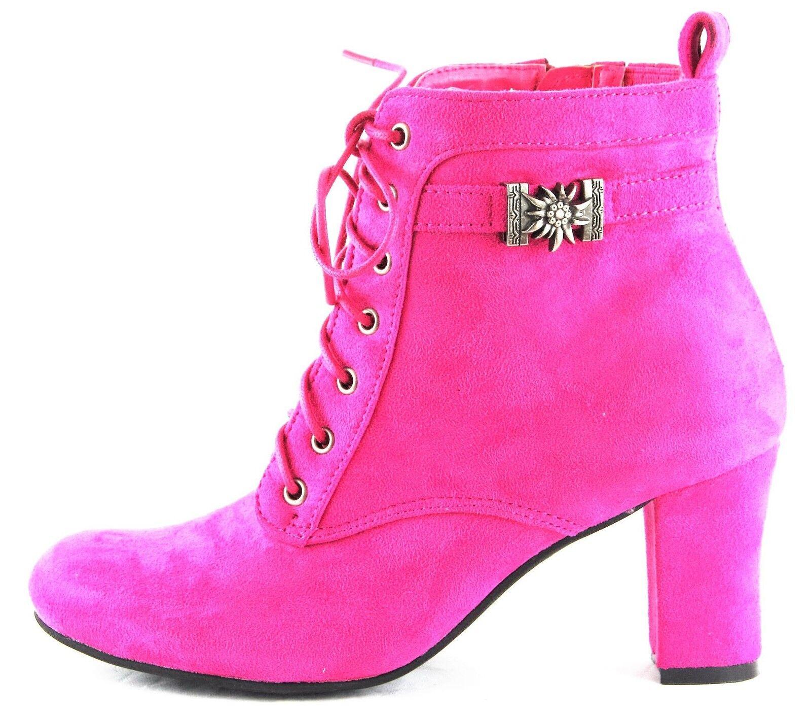 Descuento barato Hirschkogel Stiefel Stiefelette Trachtenschuhe High Heels Pink 2069