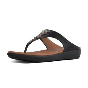 238f0c603e91 Image is loading NEW-Fitflop-BANDA-II-Crystal-Black-Leather-Toe-