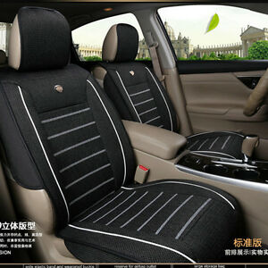 Black linen fabric 5 seats car seat cover front rear set - Car seat covers for tan interior ...