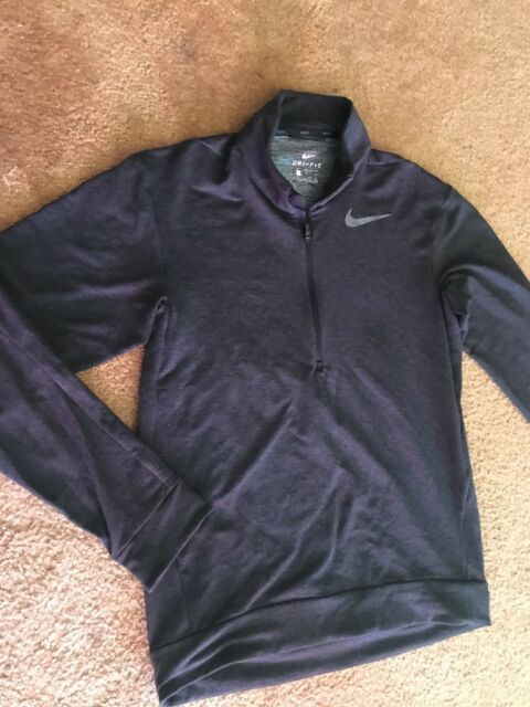 dad6238af NIKE DRY MEN'S Fleece LONG SLEEVE TRAINING TOP JACKET Black Sz Small $65