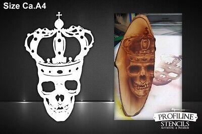 King Skull Stencil A5 Airbrush K/önig Schablone Totenkopf Sch/ädel