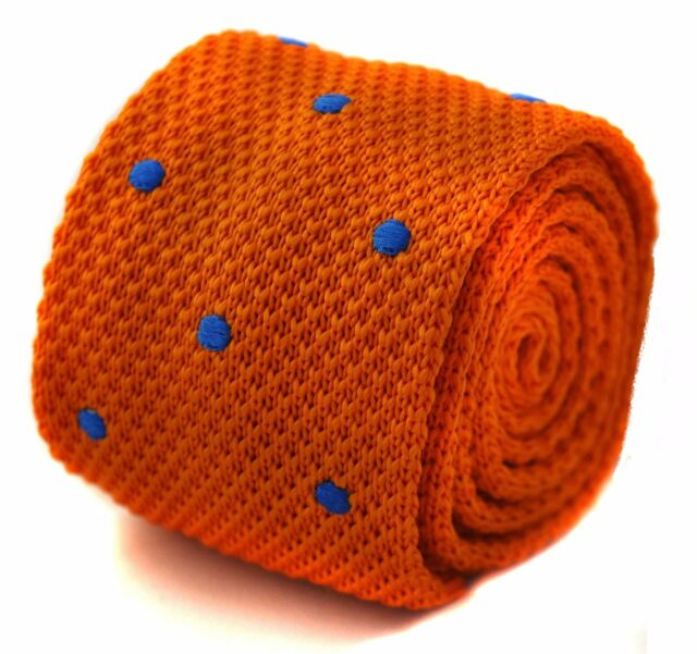 Burnt Dark Orange Frederick Thomas Knitted Silk Mens Tie Blue Polka Dot