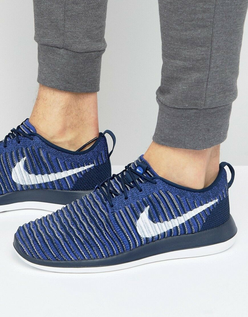 NIKE ROSHE TWO FLYKNIT Running Trainers schuhe Casual UK 8.5 (EU 43) College Navy