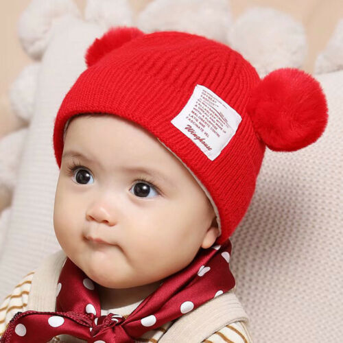 Toddler Baby Boy Girl Winter Beanie Hat Cute Bear Earflap Warm Crochet Knit Cap
