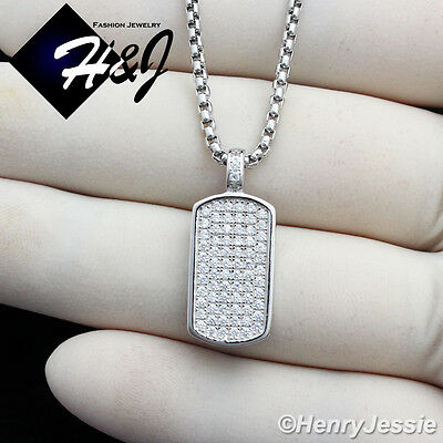 """925 STERLING SILVER 24/""""X1.5MM MOON CUT BEAD CHAIN ICED OUT DOG TAG PENDANT*SP56"""