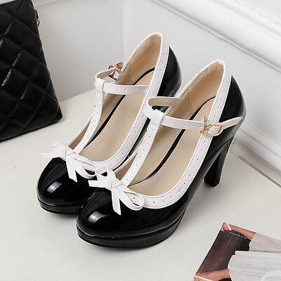 Womens Bowknot High Heel Mary Jane T-strap Wedding Lolita Pumps Shoes Plus Sz