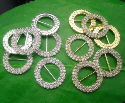 Diy 32mm round glass rhinestones buckle Invitation ribbon sider wedding supply