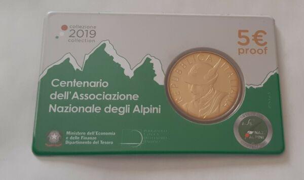 "Coincard Italie 5 Euro Be 2019 "" Centenaire Association Nationale Alpinisme """