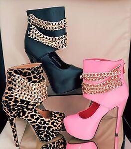 Ladies-High-Stiletto-Heel-Platform-Chain-Ankle-Shoe-Boot-Booties-Zip-Up-UK-Size