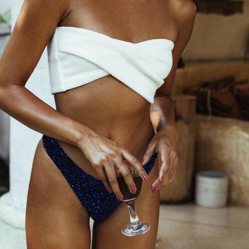 Women Ladies Bikini Set Push-Up Bra Gold Bling Beach Swimwear Beachwear Swimsuit