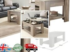 Wooden Lift Up Top Coffee Table With Storage And Shelf Living Room