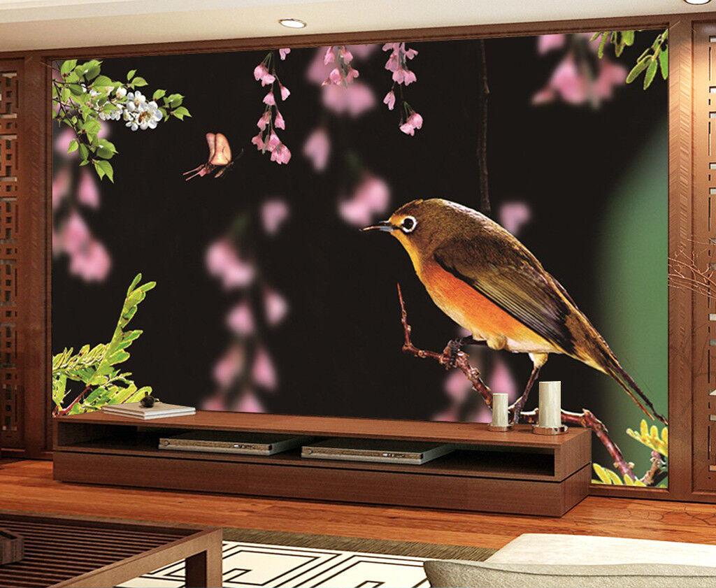 3D Frühlings Blaumen Vogel 784 Tapete Wandgemälde Tapeten Bild Familie DE Jenny