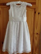 BNWT M&S GIRLS LACY WHITE FLOWER GIRL / FORMAL / COMMUNION  DRESS AGE 7-8