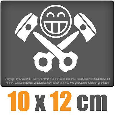 Kolben Skull 10 x 12 cm JDM Decal Sticker Auto Car Weiß Scheibenaufkleber
