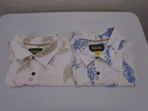 Mens-Cabelas-Lot-Of-2-Outdoors-Shirt-2XL-TG-Short-Sleeve-Blue-Brown-White