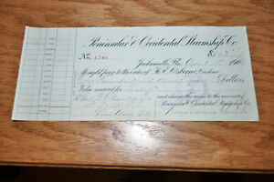 1907-Peninsular-amp-Occidental-SS-Steamship-Co-Bank-Check-Jacksonville-FL-to-DL-amp-W