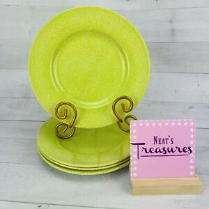 Royal-Stafford-HERRINGBONE-Green-Earthenware-England-Salad-Lunch-Plates-Set-4