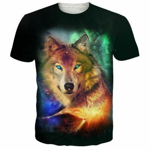 Animal Wolf 3D Print Men//Women Casual Summer Short Sleeve T-Shirt Crew Neck Tee