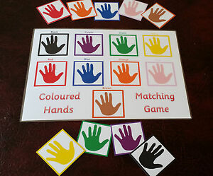 Colour match game - \'hands\' special needs first learning eyfs sen ...