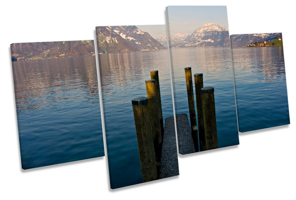 Jetty Pier Mountain Lakes MULTI CANVAS WALL ART Framed Panel