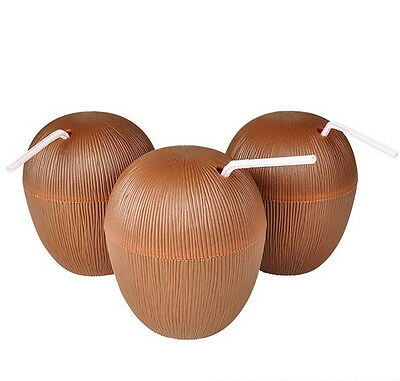 LOT OF 6 COCONUT CUPS WITH STRAWS, 16 OUNCE LUAU BEACH POOL PARTY FREE SHIPPING
