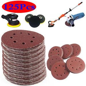 "125pcs 125mm - 5"" Sanding Discs 40 60 80 120 240 Grit Orbital Sander Pads Velc 720355262600"