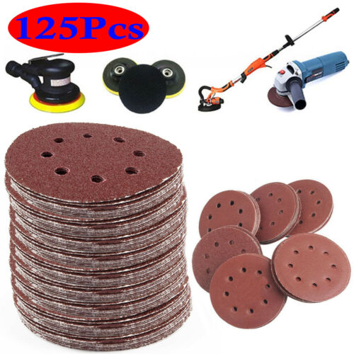 "5/"" Sanding Discs 40 60 80 120 240 Grit Orbital Sander Pads Velc 125pcs 125mm"